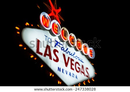 welcome to fabulous las vegas Nevada sign shot at night with a motion effect from the outside to the middle of the sign, effect done at the time of capture