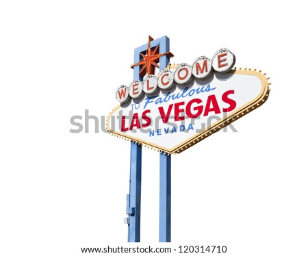Welcome to Fabulous Las Vegas sign isolated with clipping path. - stock photo