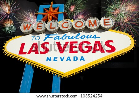 Welcome to Fabulous Las Vegas Sign, Nevada, USA - stock photo
