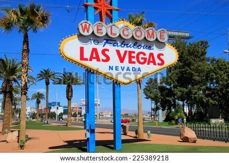 Welcome to Fabulous Las Vegas sign, Nevada, USA - stock photo