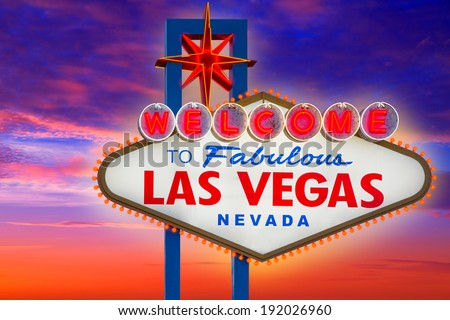 Welcome to Fabulous Las Vegas sign sunset sky Nevada photo mount - stock photo