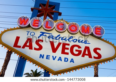 Welcome to Fabulous Las Vegas sing with a sky blue background