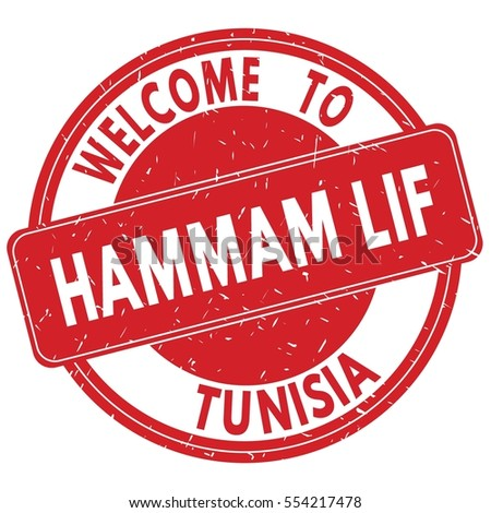 Welcome to HAMMAM  LIF  TUNISIA stamp sign text logo red.