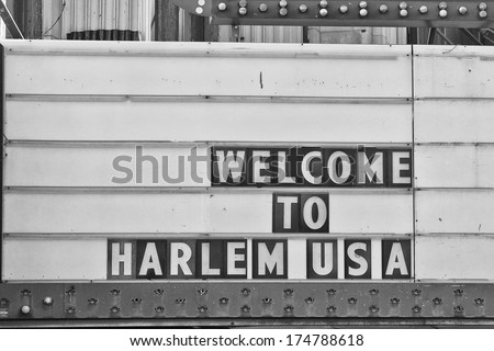 Welcome to harlem Usa Sign in black and white - stock photo