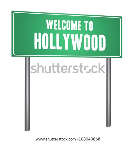 Welcome to Hollywood on the road sign isolated on withe - stock photo
