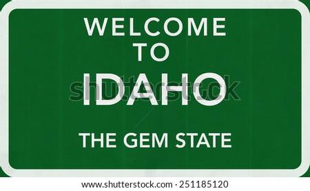 Welcome to Idaho USA Road Sign - stock photo