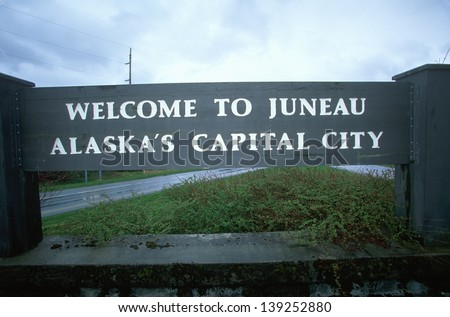 Welcome to Juneau Sign - stock photo