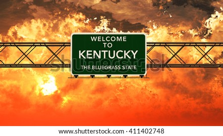 Welcome to Kentucky USA Interstate Highway Sign in a Breathtaking Cloudy Sunset Photorealistic 3D Illustration - stock photo