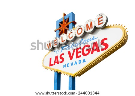 Welcome to Las Vegas Neon Light Sign Isolated on White with Clipping Path - stock photo