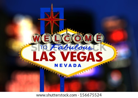 Welcome to Las Vegas neon sign - stock photo