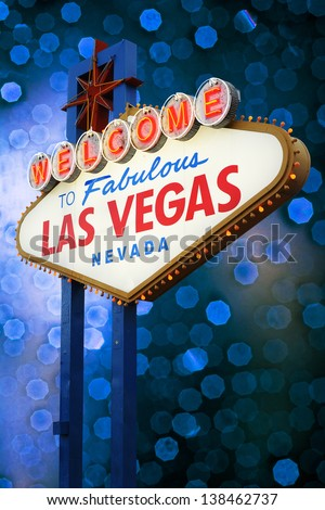Welcome To Las Vegas neon sign at night.  Nevada, USA