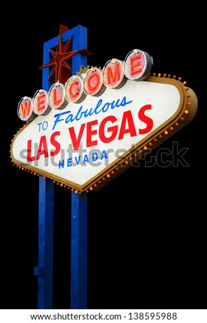 Welcome To Las Vegas neon sign on black background.  Nevada, USA