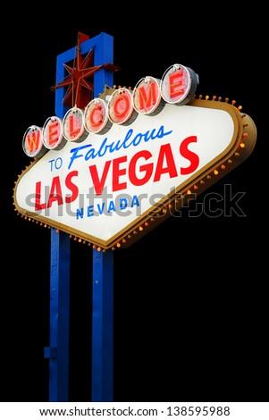 Welcome To Las Vegas neon sign on black background.  Nevada, USA - stock photo