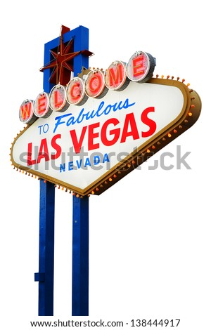 Welcome To Las Vegas neon sign on white background.  Nevada, USA