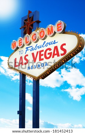 Welcome to Las Vegas neon sign with cloudy blue sky