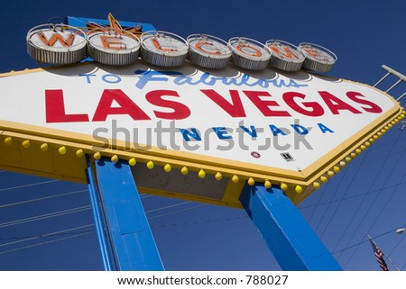 welcome to las vegas on beautiful blue sky - stock photo
