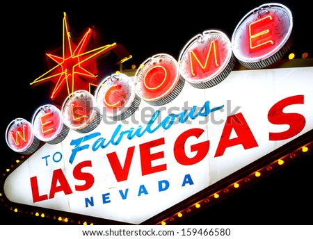 Welcome to Las Vegas sign isolated - stock photo