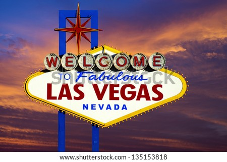 Welcome to Las Vegas Sign neon light on sunset sky