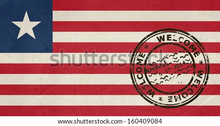 Welcome to Liberia flag with passport stamp