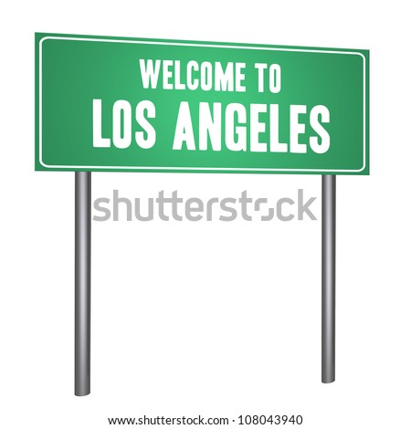 Welcome to Los Angeles on the road sign isolated on withe - stock photo