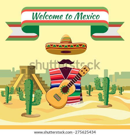 Welcome to Mexico, Mexican traditional elements against backdrop of cactuses and sand - stock photo