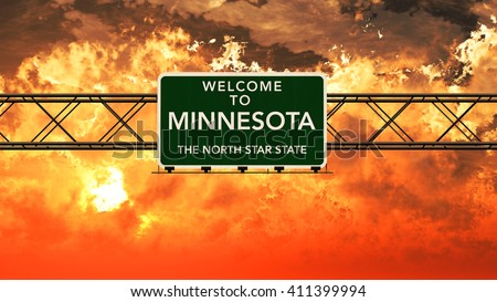 Welcome to Minnesota USA Interstate Highway Sign in a Breathtaking Cloudy Sunset Photorealistic 3D Illustration - stock photo