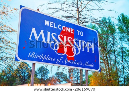 Welcome to Mississippi sign at the state border - stock photo