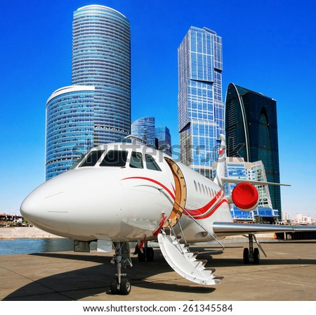Welcome to Moscow. Jet for the VIP flights. - stock photo