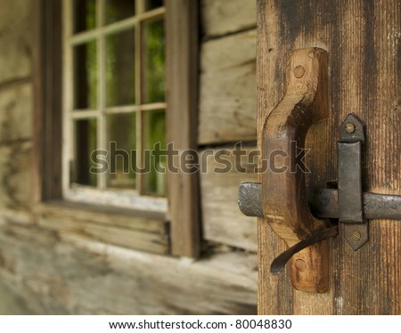 Welcome to my cabin in the woods - stock photo