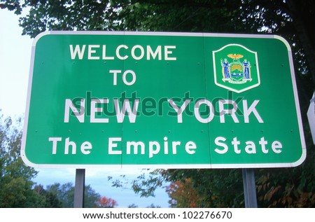 Welcome to New York Sign - stock photo