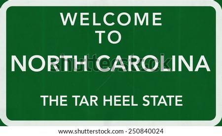 Welcome to North Carolina USA Road Sign - stock photo