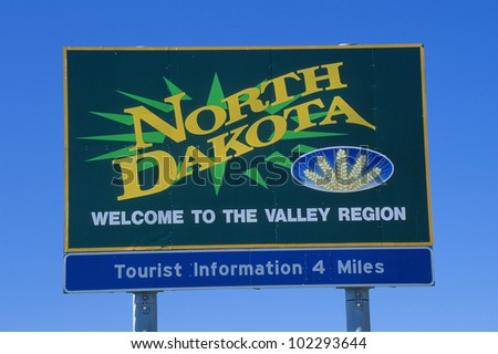 Welcome to North Dakota Sign - stock photo