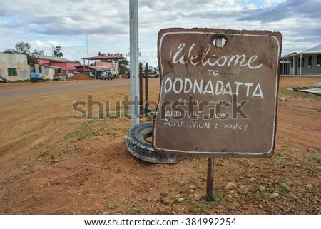 Welcome to Oodnadatta sign in the outback of South Australia