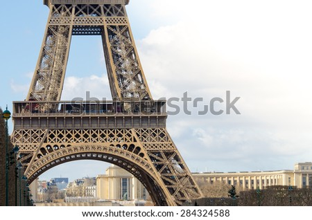 Welcome to Pais / Eiffel Tower Background. Paris, France. - stock photo