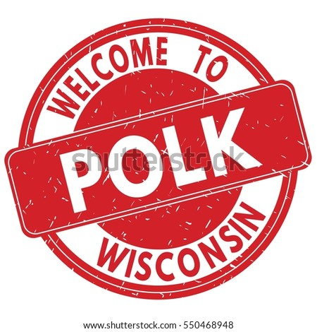 Welcome to POLK WISCONSIN stamp sign text logo red.