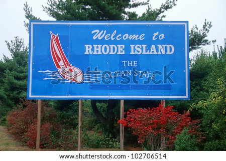 Welcome to Rhode Island Sign - stock photo