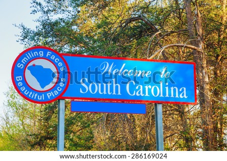 Welcome to South Carolina sign at the state border - stock photo