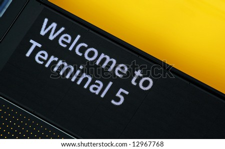 Welcome to Terminal 5 airport sign - stock photo