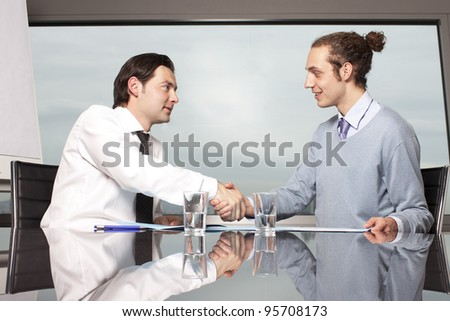 Welcome to the new job shaking hands