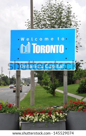 Welcome to Toronto signboard - stock photo
