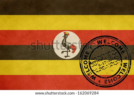 Welcome to Uganda flag with passport stamp