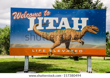 Welcome to Utah state sign at the border of Colorado near Dinosaur National Monument - stock photo