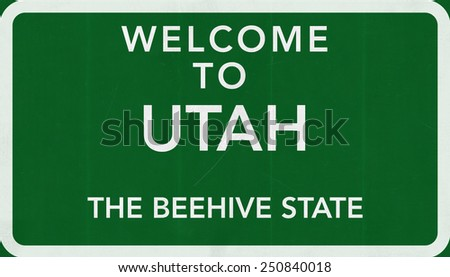 Welcome to Utah USA Road Sign - stock photo