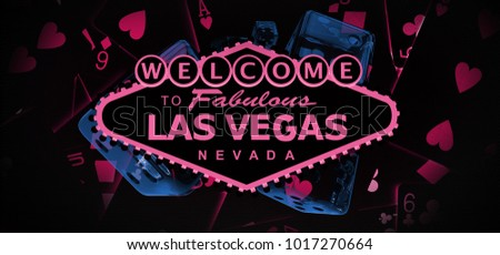 Welcome to Vegas Dark Banner Graphic. Vagas Gambling Conceptual 3D Rendered Illustration with Blackjack Cards and Glassy Craps Dices.