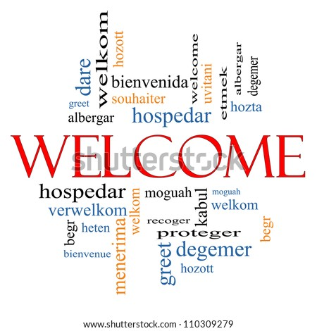 Welcome word cloud concept welcome greetings stock illustration welcome word cloud concept with welcome greetings in different languages such as hozta welkom m4hsunfo