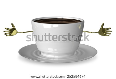 Welcoming glossy white cup of coffee or tea character isolated on white - stock photo