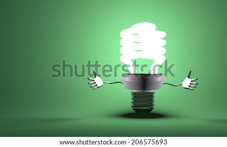 Welcoming glowing fluorescent light bulb character on green textured background