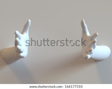 Welcoming hands protrude through background wall. Space left blank for product / message.