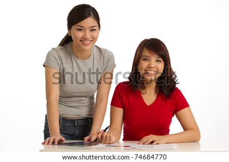 welcoming image of female collegues - stock photo