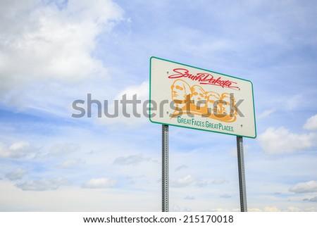 Welcoming sign to South Dakota, USA - stock photo
